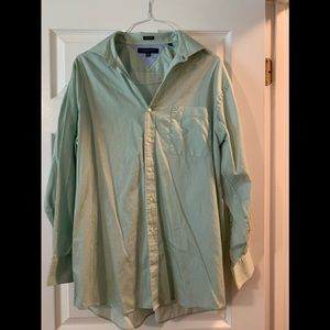 Tommy Hilfiger men's button down. Green and white